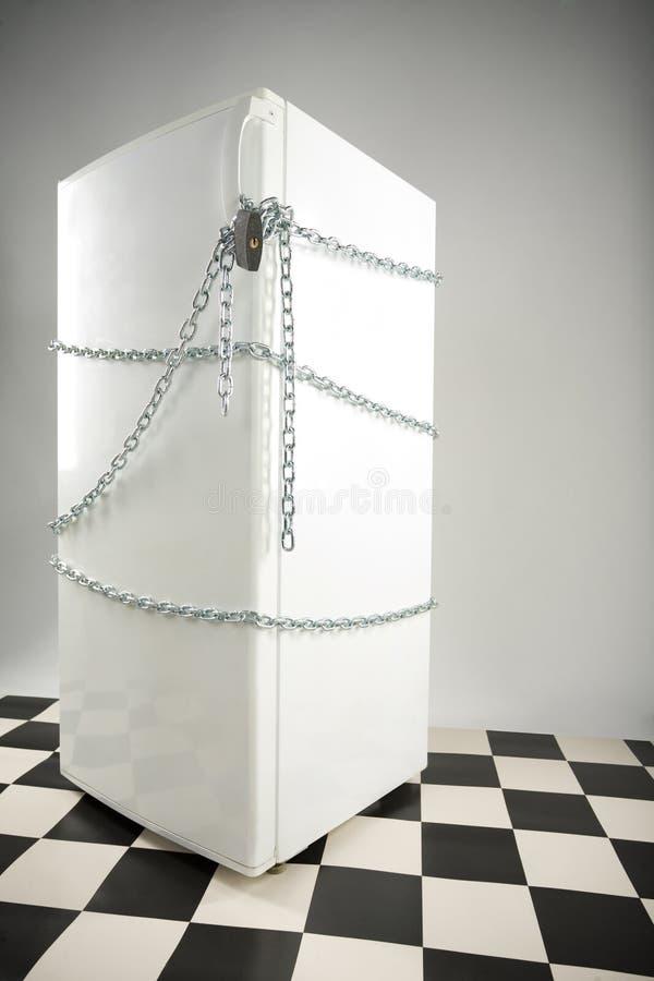 被锁定的冰箱 免版税图库摄影