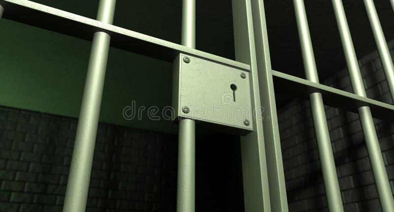 被锁定的牢房门 向量例证