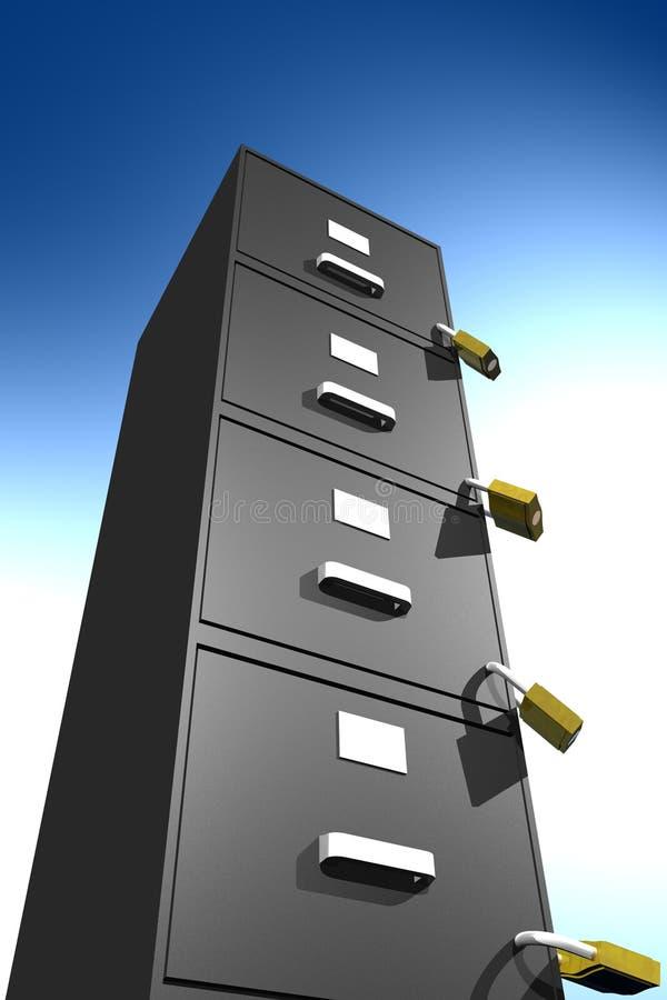 被锁文件内阁(3D) 库存例证