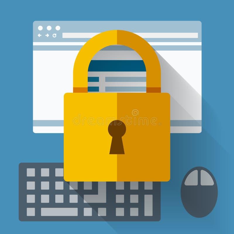 被锁的安全 互联网安全 向量例证