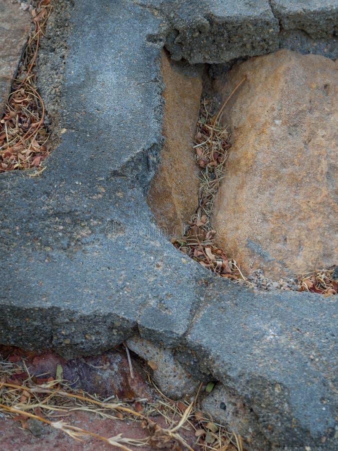 被镀的石头道路与水泥的在庭院里 冥想的石走道 庭院建筑学,路辅助部件 图库摄影
