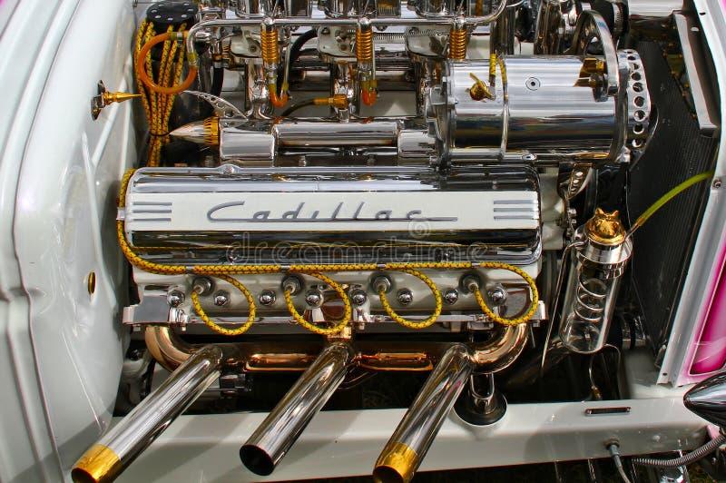 被镀铬的卡迪拉克V-8 免版税库存照片