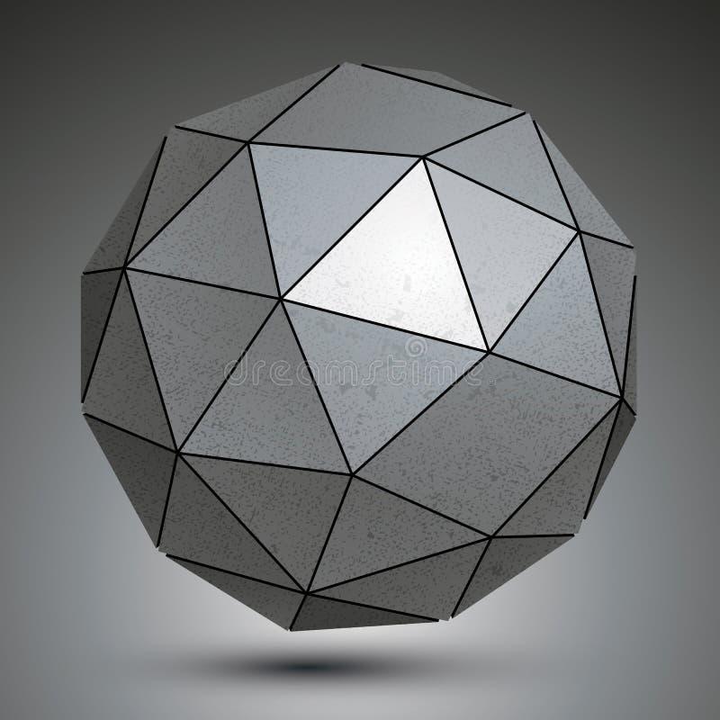 被镀锌的小平面3d球形,灰色极谱抽象对象 皇族释放例证