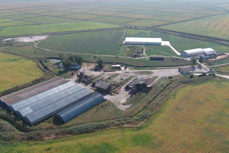 被镀锌的金属板飞机棚农产品存贮的  库存照片