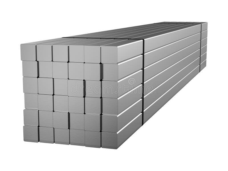被镀锌的钢圆杆 金属制品 3d例证 向量例证