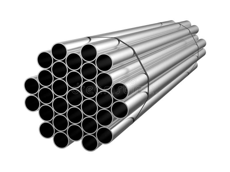 被镀锌的钢圈子管子 金属制品 3d例证 图库摄影