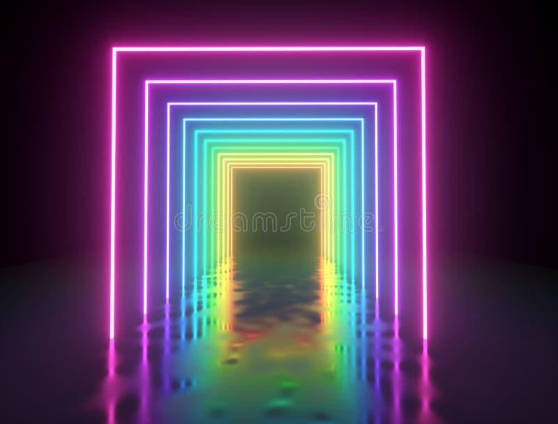 被阐明的五颜六色的方形的框架通过 库存例证