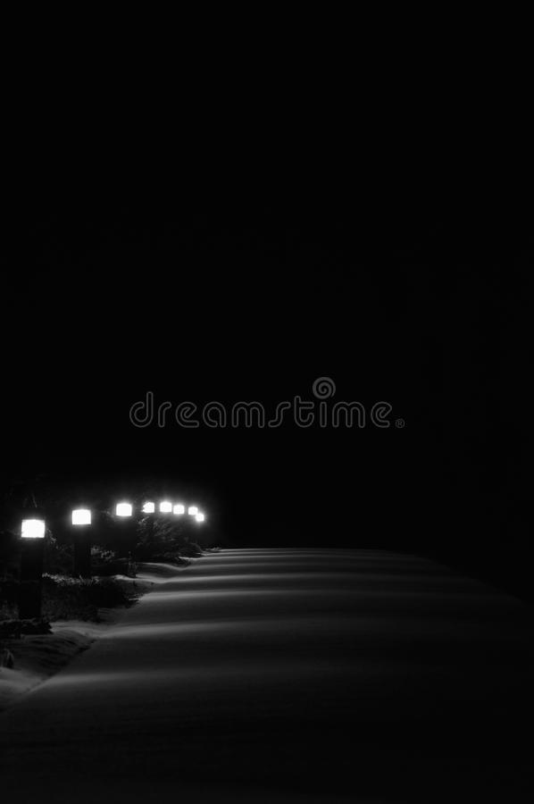 被阐明的斯诺伊公园小径光,明亮的升白色室外路路面灯笼路灯柱行透视在晚上 免版税库存图片
