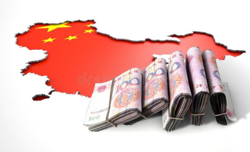 被隐藏的国家地图和现金中国 皇族释放例证