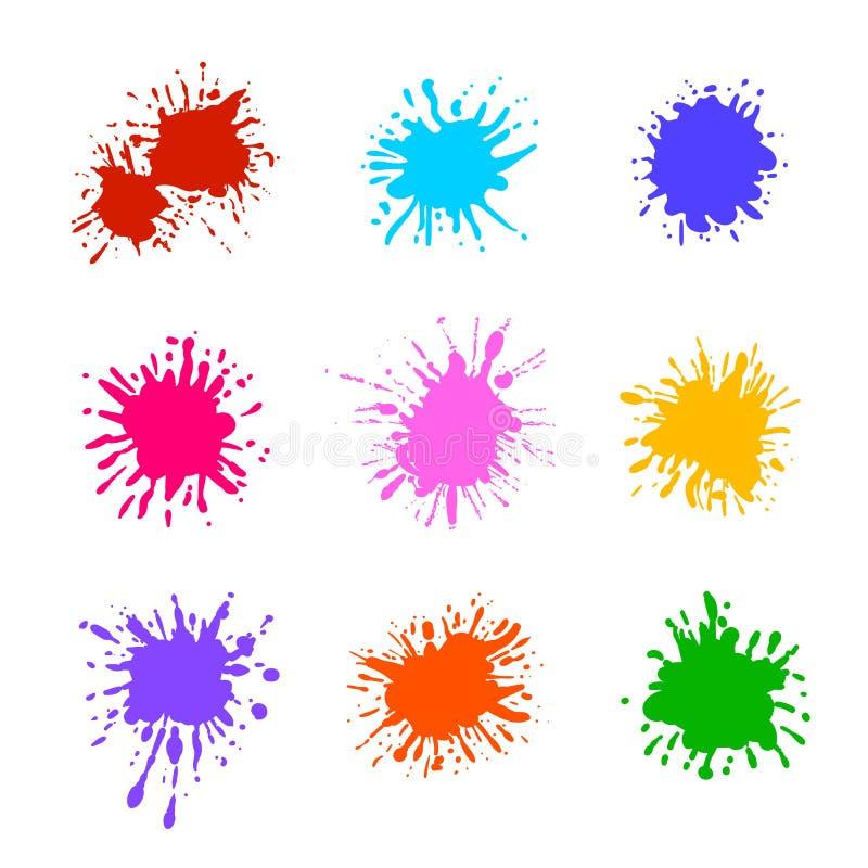 被隔绝的五颜六色的油漆泼溅物,空白的刷子模板的传染媒介汇集 向量例证