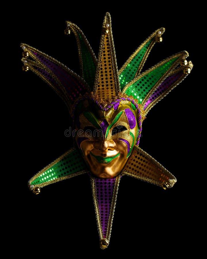 被隔绝的五颜六色的狂欢节面具 免版税库存照片