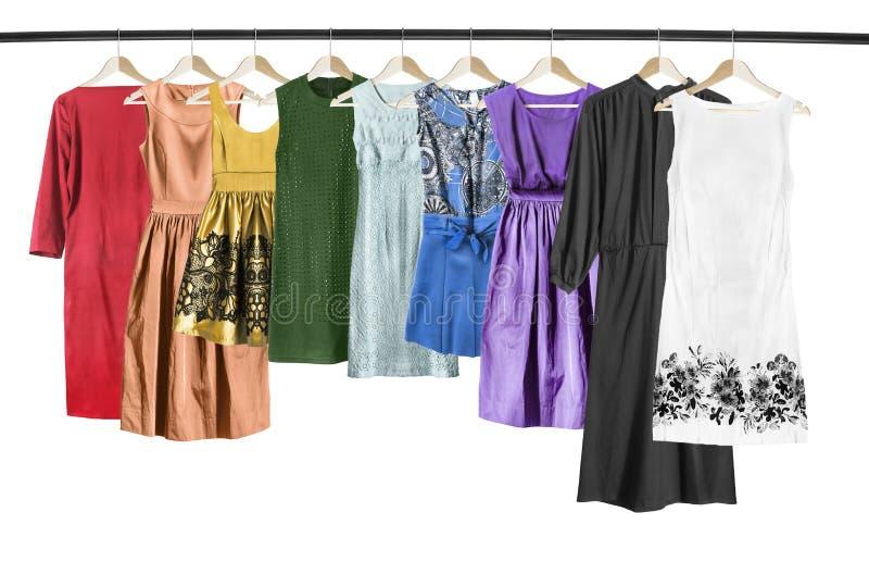 被隔绝的五颜六色的礼服 图库摄影