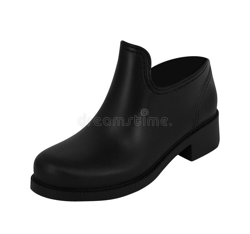 被隔绝的人` s经典黑皮鞋 免版税库存图片