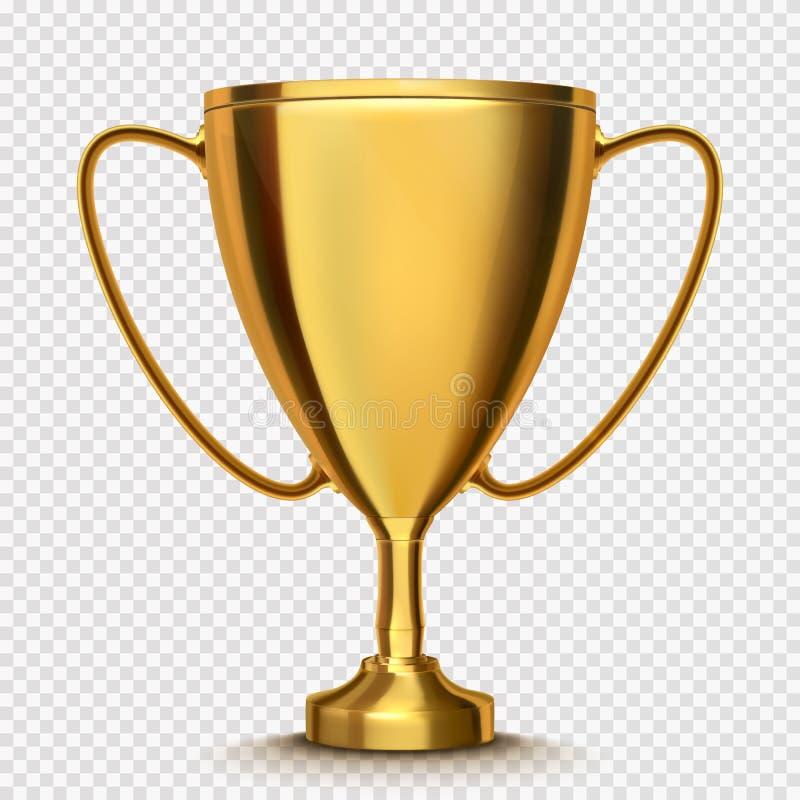 被隔绝的优胜者杯子 在透明背景的金黄战利品 向量 皇族释放例证