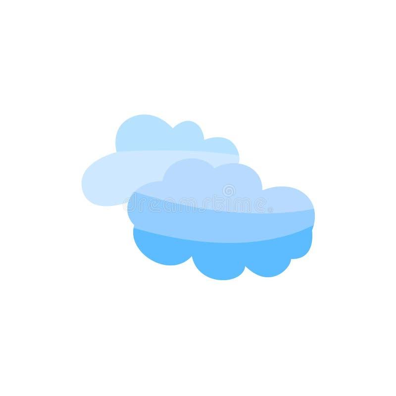 被隔绝的传染媒介平的蓝色云彩天空象 向量例证