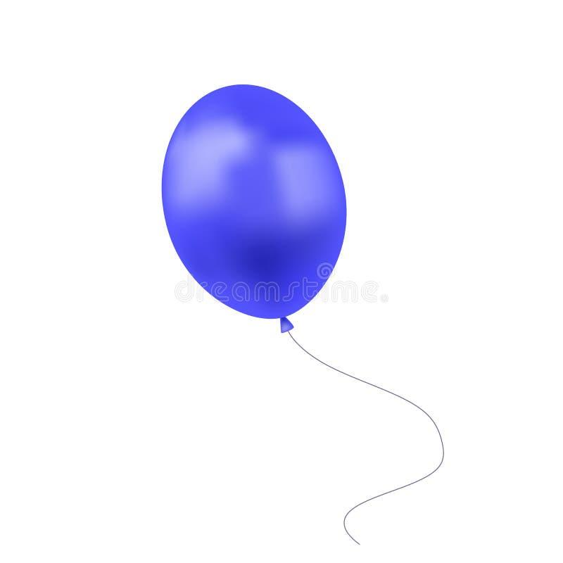 被隔绝的传染媒介蓝色气球,唯一对象,3D例证 向量例证