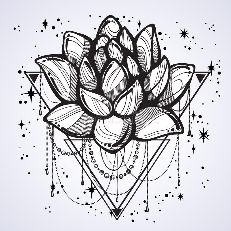 被隔绝的传染媒介boho样式概述时髦例证 在神圣的几何和驱散的莲花星 纹身花刺艺术 向量例证