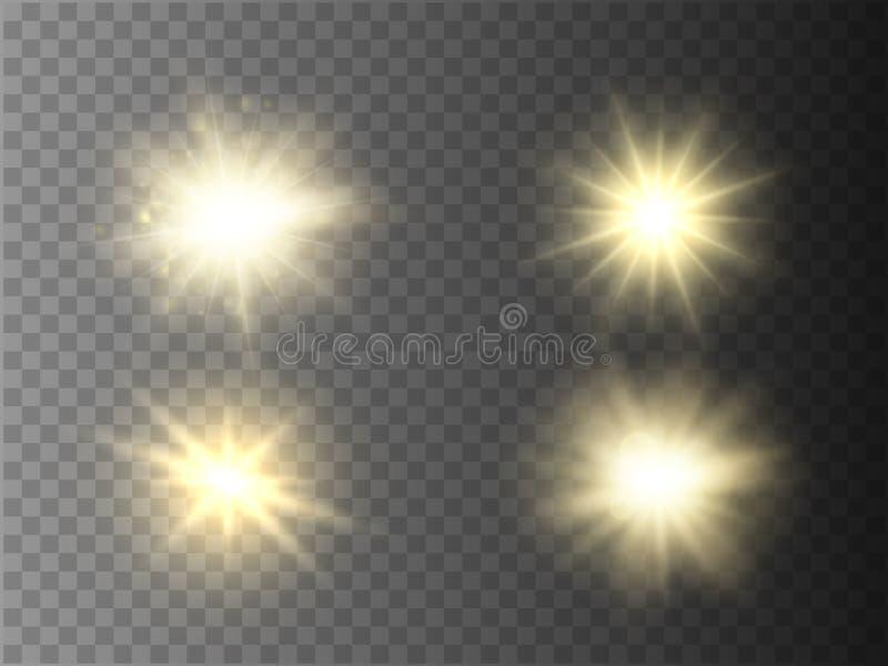被隔绝的光线影响 与光芒和聚光灯的太阳闪光 库存例证