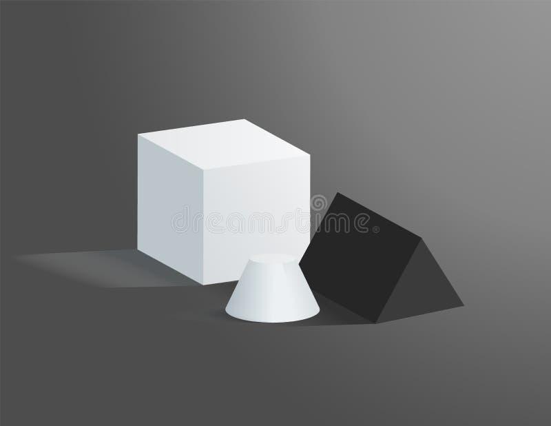 被隔绝的几何图在灰色背景 向量例证