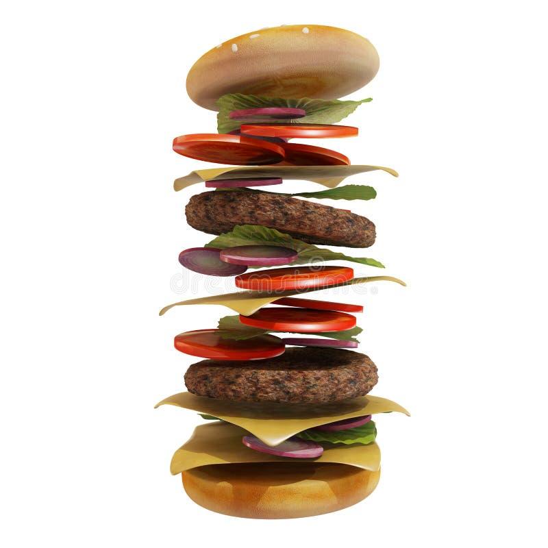 被隔绝的动态汉堡包 库存例证