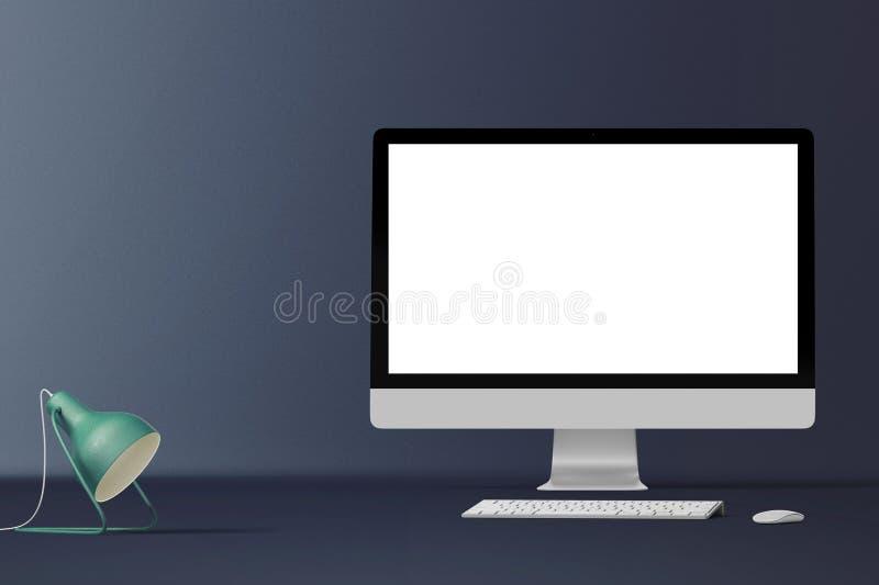 被隔绝的台式计算机屏幕 现代创造性的工作区背景 正面图 免版税图库摄影
