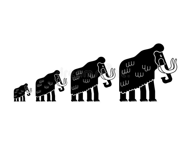 被隔绝的声势浩大的家庭 史前大象群 巨型生命 皇族释放例证