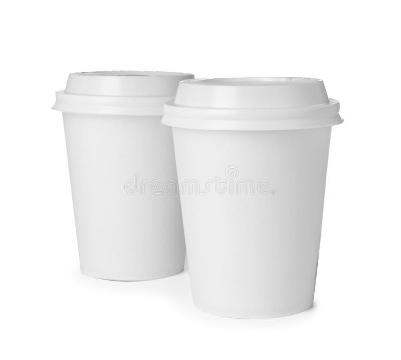 被隔绝的外带的纸咖啡杯 图库摄影