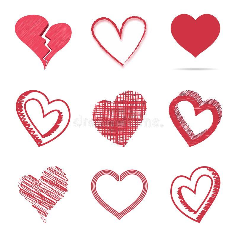 被隔绝的套上色幼稚和手拉的心脏标志隔绝在白色背景 传染媒介剪影样式 库存例证