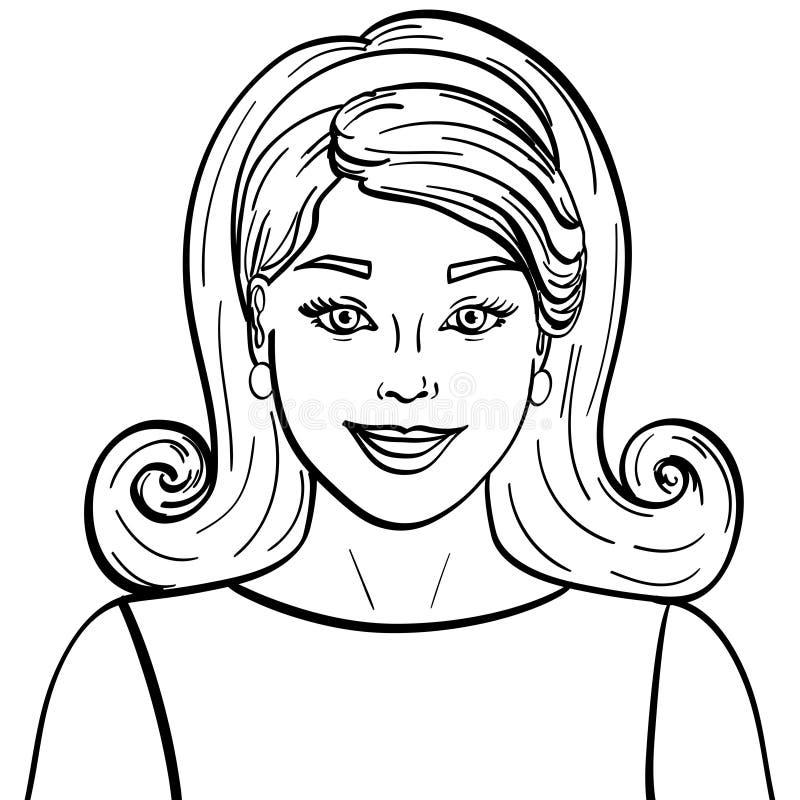 被隔绝的对象着色,黑线,白色背景 时装模特儿美丽的深色的女孩 减速火箭的发型,称呼 向量例证