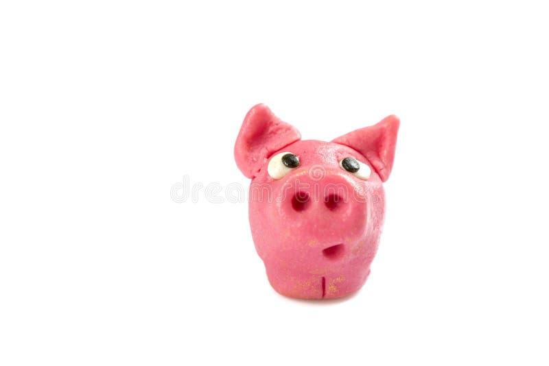 被隔绝的幸福的幸运的猪标志 免版税库存图片
