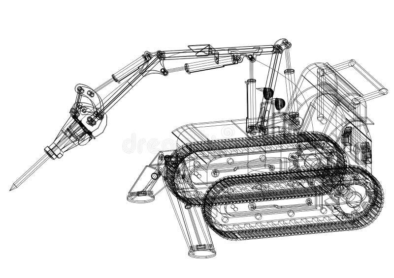 -被隔绝的开掘的机器3D图纸 皇族释放例证