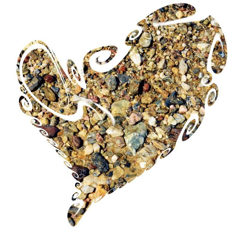 被隔绝的心脏、海、石头和岩石在黑背景 免版税库存图片