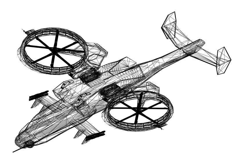 -被隔绝的战斗直升机3D图纸 库存例证