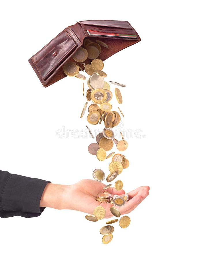被隔绝的手充分从钱包的落的金钱 企业concep 免版税图库摄影