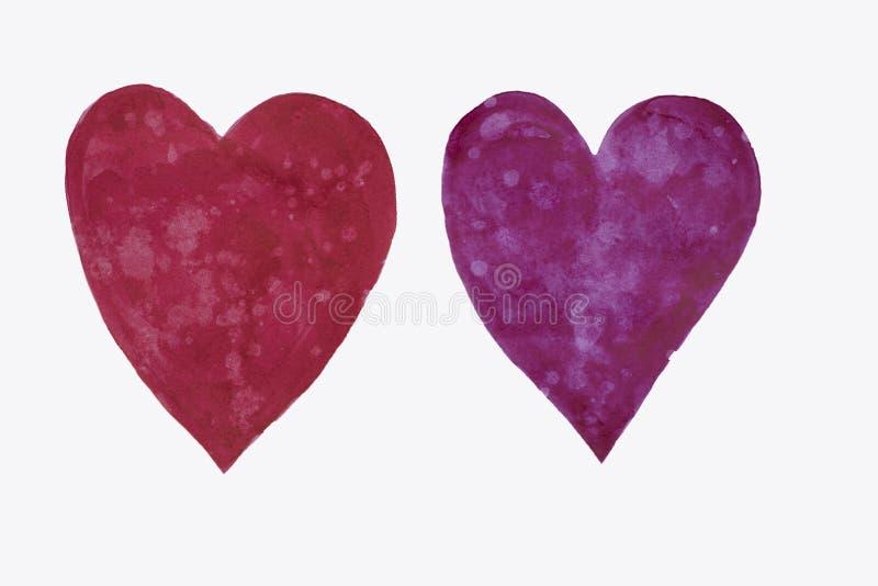 被隔绝的手拉的两hearst在紫色和红色树荫下-适用于情人节设计,卡片等 皇族释放例证