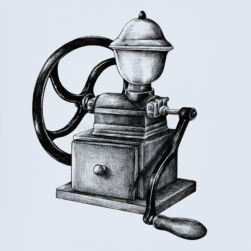 被隔绝的手拉的减速火箭的磨咖啡器 向量例证