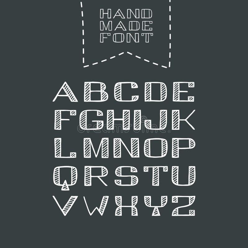 被隔绝的手拉的Sans Serif被孵化的字体 手工制造拉丁字母 皇族释放例证