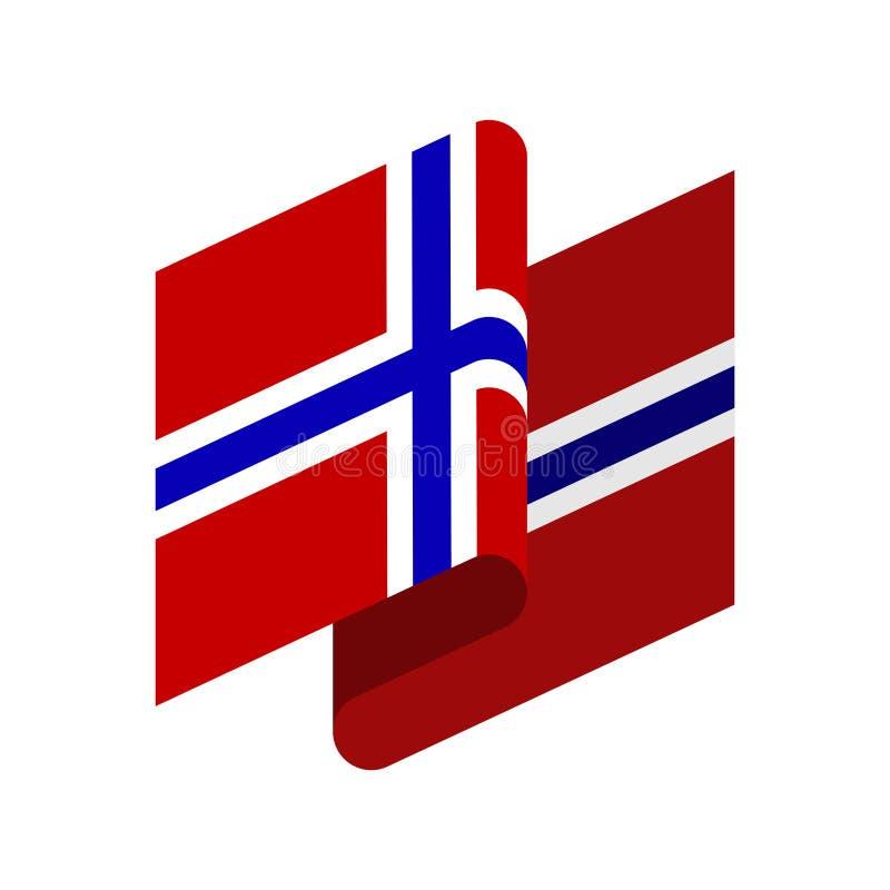被隔绝的挪威旗子 挪威丝带横幅 状态标志 向量例证