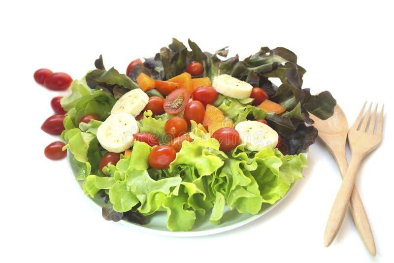 被隔绝的新鲜蔬菜凉拌生菜 免版税图库摄影