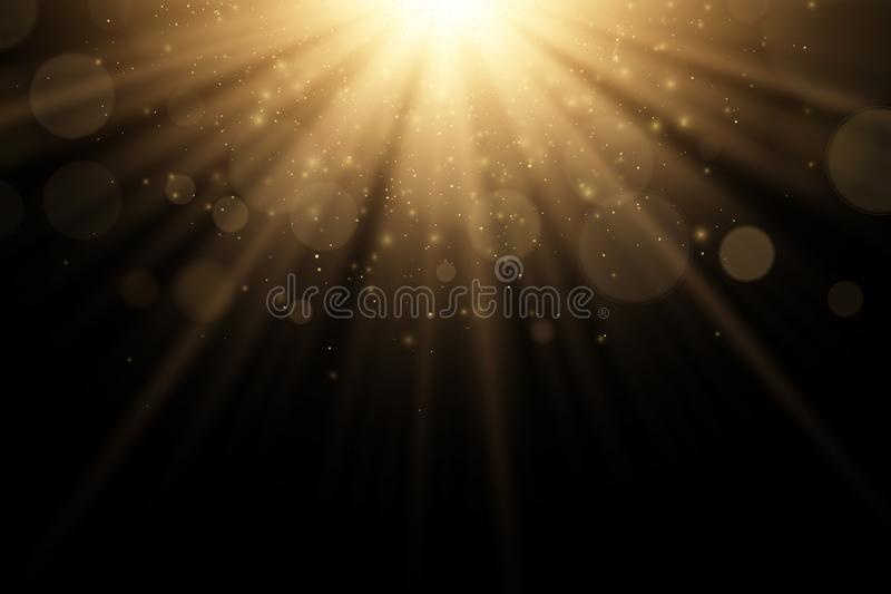 被隔绝的时髦的金光线影响对黑背景 金黄光芒 明亮的展开 飞行的金黄不可思议的尘土阳光 库存例证