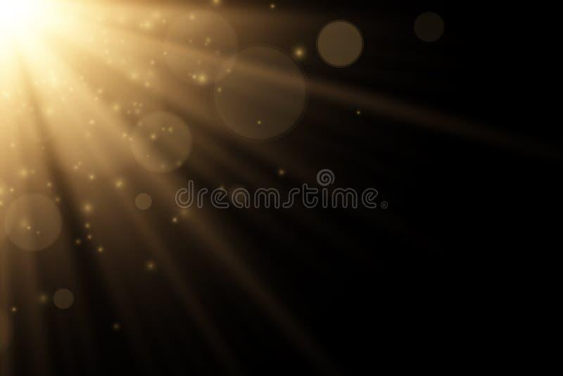 被隔绝的时髦的金黄光线影响对黑背景 金黄光芒 明亮的展开 飞行的不可思议的尘土阳光 摘要 库存例证