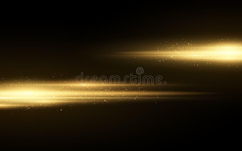 被隔绝的时髦的金黄光线影响对黑背景 金黄闪烁 与闪闪发光的发光的线 被弄脏的光足迹 库存例证