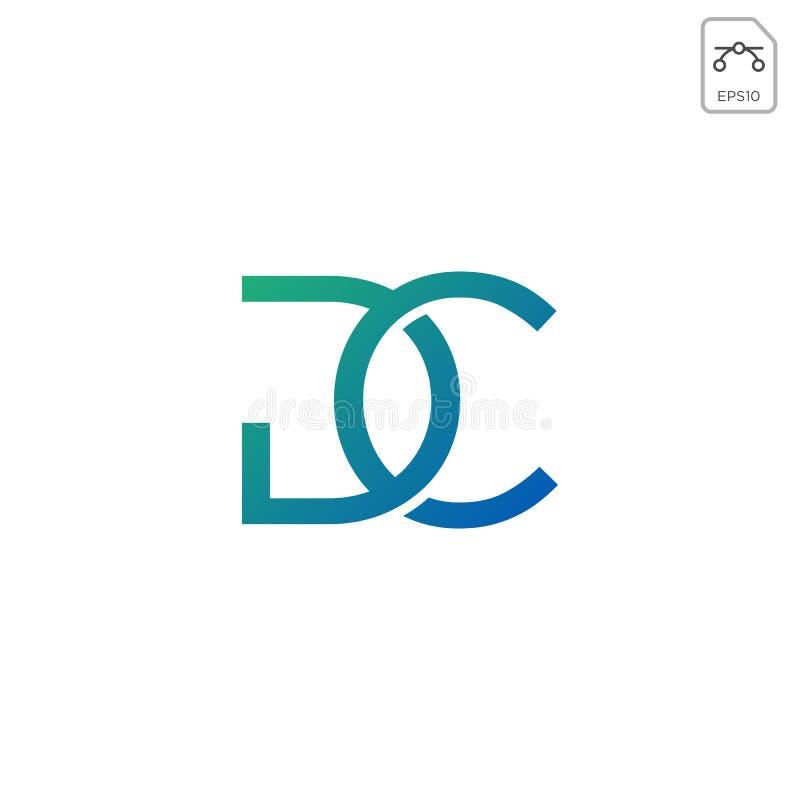 被隔绝的最初的dc商标设计或象传染媒介 向量例证