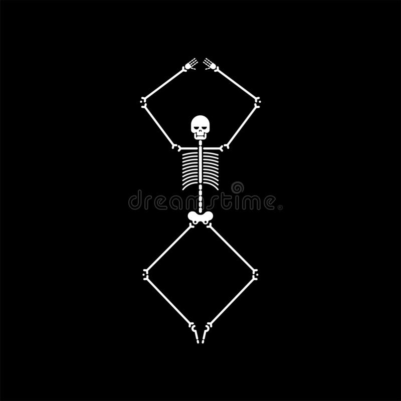 被隔绝的最基本的舞蹈 头骨和骨头舞蹈 传染媒介illustrat 向量例证