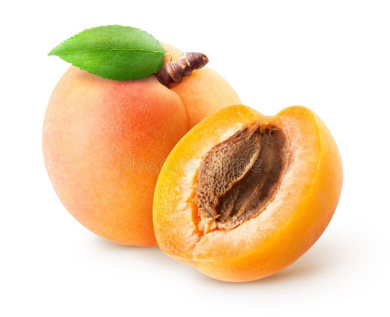 被隔绝的杏子 在与裁减路线的白色背景与叶子的新鲜的整个杏子果子和一半隔绝的 免版税图库摄影
