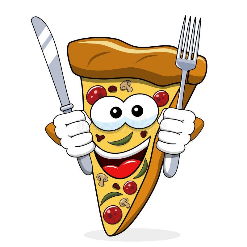 被隔绝的比萨切片动画片滑稽叉子刀子吃饥饿 皇族释放例证