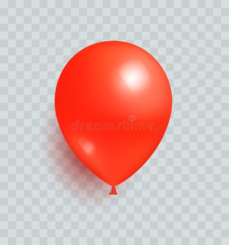 被隔绝的气球红颜色现实设计传染媒介 向量例证