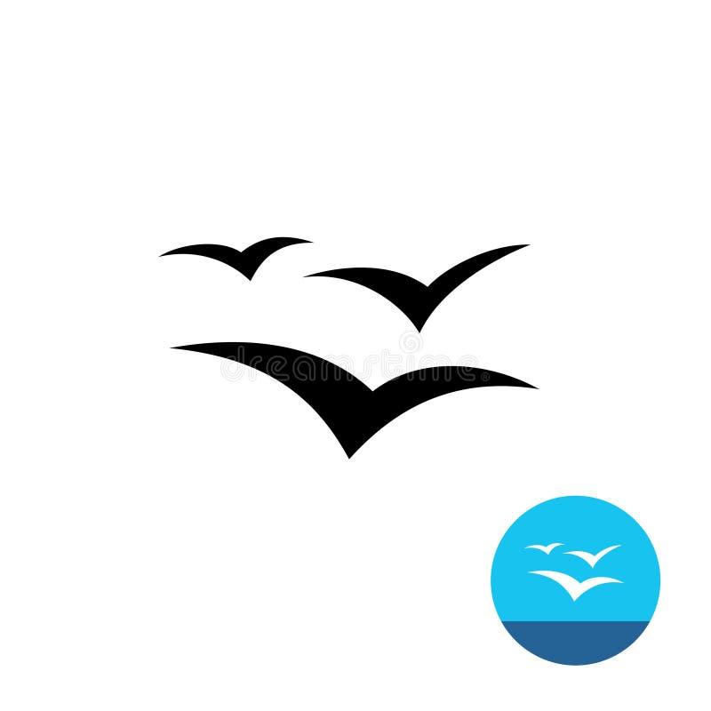 被隔绝的海鸥 简单的黑海鸥剪影 库存例证