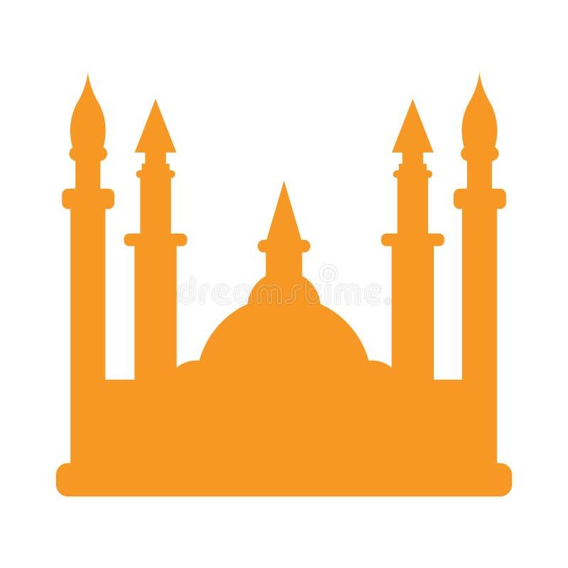 被隔绝的清真寺剪影 皇族释放例证