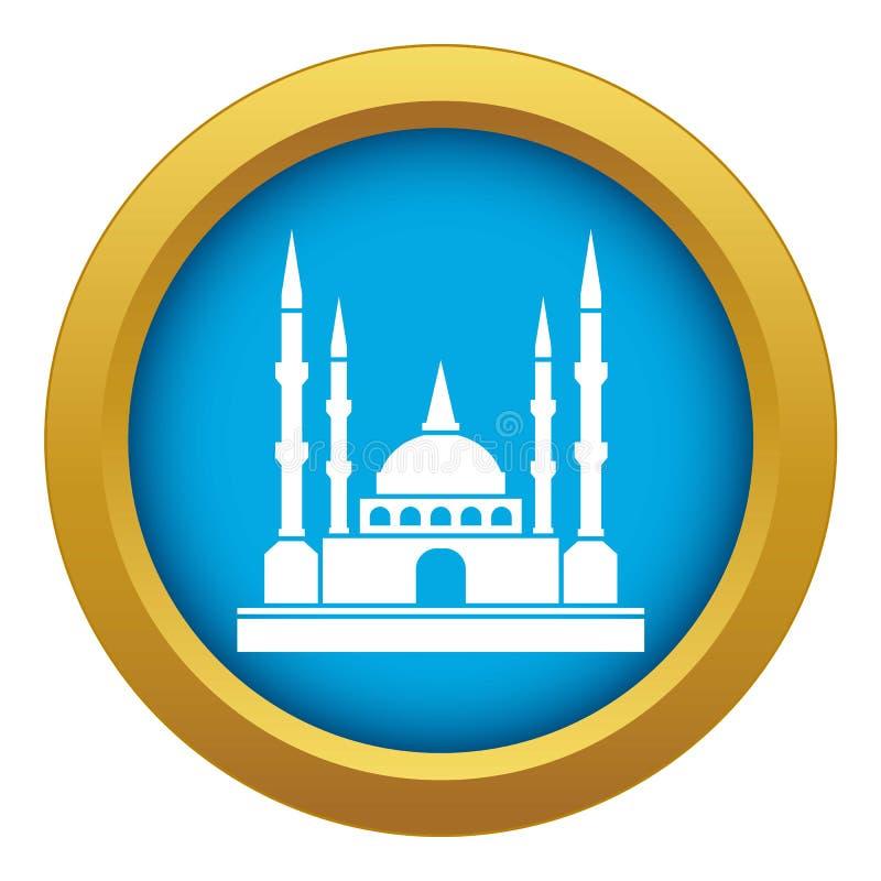 被隔绝的清真寺象蓝色传染媒介 向量例证